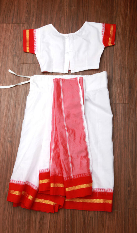 WHITE SAREE WITH RED BORDER
