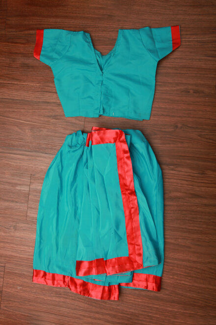 BLUE SAREE WITH RED BORDER