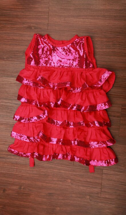 PINK SEQUIN FRILL FROCK