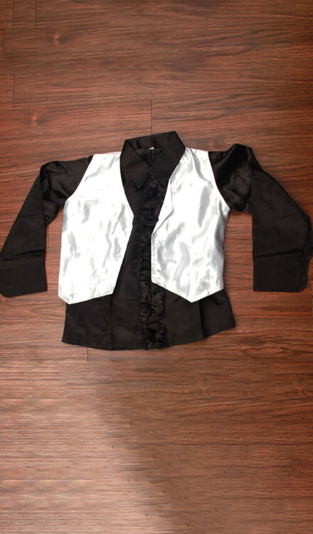 SILVER JACKET WITH BLACK SHIRT