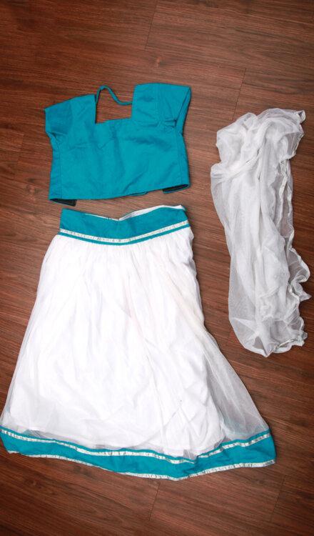 BLUE WHITE GHAGRA CHOLI