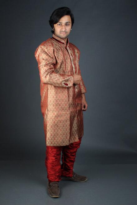 FULL RED JODHPURI SHERWANI