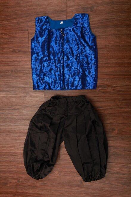 BLUE SLEEVELESS JACKET AND PANT