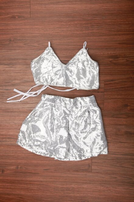SILVER SKIRT AND TOP