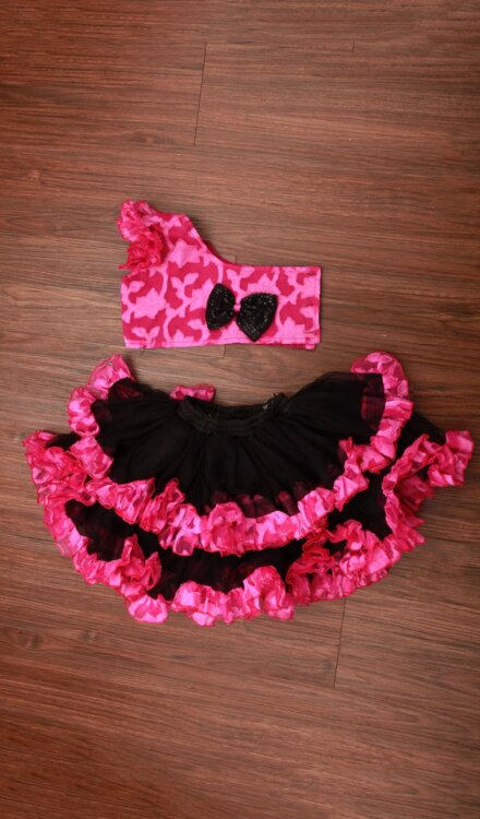 PINK AND BLACK FRILL SKIRT AND TOP