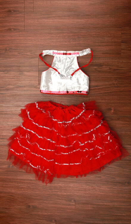 RED FRILL SKIRT AND TOP