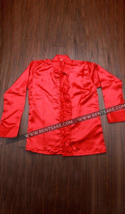RED FRILL SATIN SHIRT