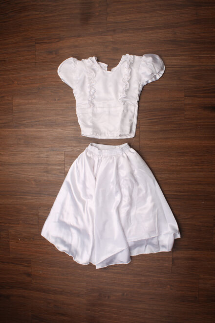 WHITE SATIN SKIRT AND TOP
