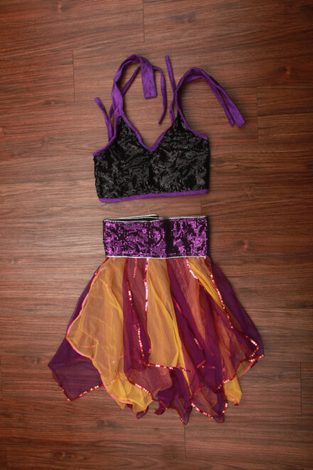 YELLOW VIOLET FLARE SKIRT AND TOP