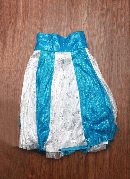 SHINY WHITE BLUE SKIRT