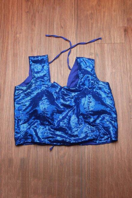 SHINY NAVY BLUE TOP
