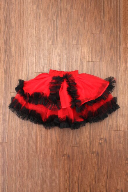 RED BLACK FRILL SKIRT AND TOP