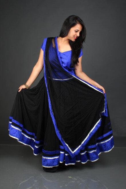 BLACK BLUE GHAGRA CHOLI