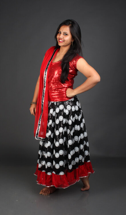 RED BLACK GHAGRA CHOLI