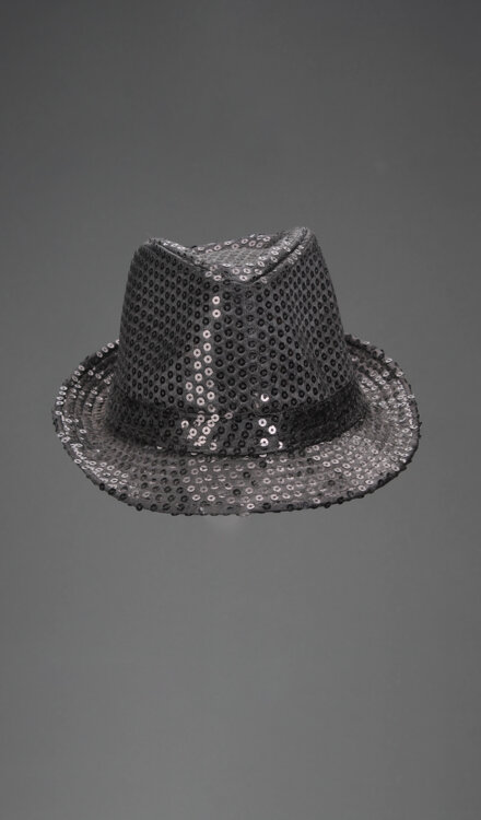 SHINY BLACK FEDORA HAT