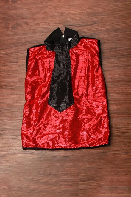 RED SEQUIN TOP AND BLACK BREECHES
