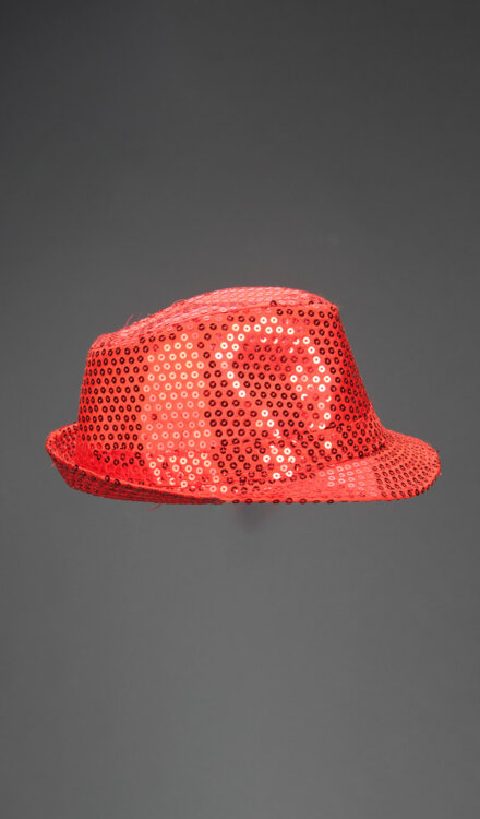 SHINY RED FEDORA HAT